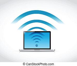 computador portatil, wifi, diseño, conexión, ilustración
