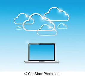 computador portatil, y, computadora, nube, conexión