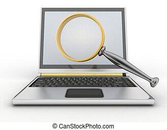 computador portatil, y, lupa