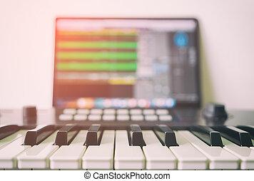 computador, producao, executando, daw, música, teclado,...