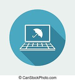 computador, proteção, -, vetorial, teia, ícone
