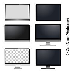 computador, realístico, modelo, laptop, telefone, tabuleta, monitor, móvel, vetorial