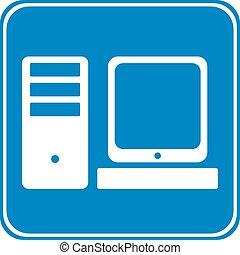 computador, símbolo, botão