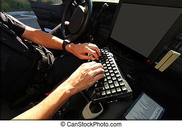 computador, segurança, oficial, veículo, usando, público