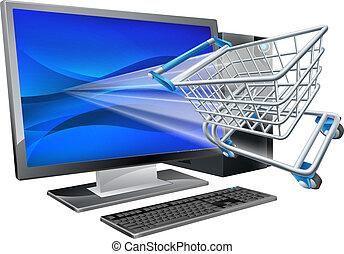 computador, shopping, conceito