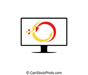 computador, solução, logotipo