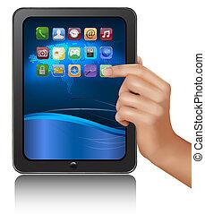 computador, tabuleta, ilustração, mão, vetorial, icons., segurando, digital