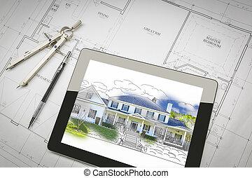 computador, tabuleta, mostrando, casa, ilustração, ligado, casa, planos, lápis, compasso
