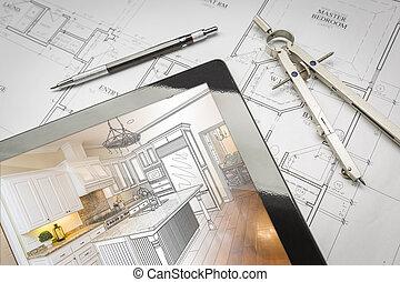 computador, tabuleta, mostrando, cozinha, ilustração, ligado, casa, planos, lápis, compasso