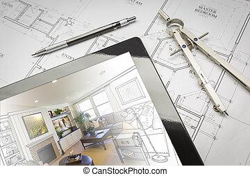 computador, tabuleta, mostrando, sala, ilustração, ligado, casa, planos, lápis, compasso