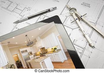 computador, tabuleta, mostrando, terminado, cozinha, ligado, casa, planos, lápis, compasso