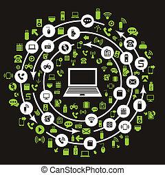computador, technics, circulação