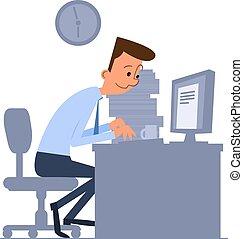computador, trabalhador, escritório, digitando