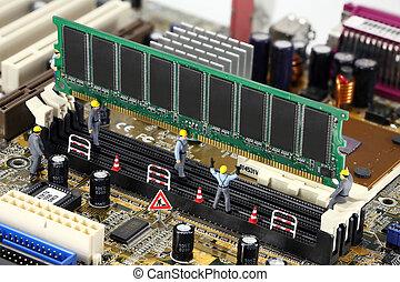 computador, trabalhadores, instalar, construção, memória, ...