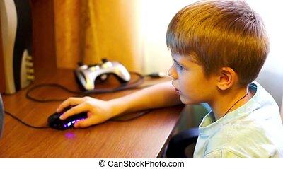 computador, trabalhando, criança