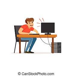 computador, trabalhando, deprimido, hábito, , ilustração, mau, vetorial, computador, cansado, vício, homem