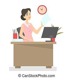 computador, trabalhando, secretária