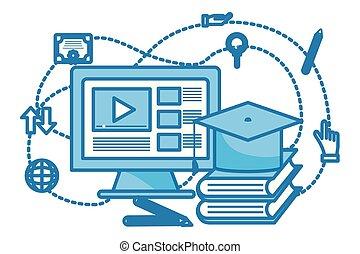 computador, vídeo, ícone