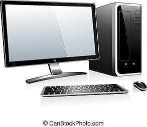 computadora, 3d, escritorio