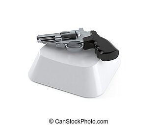 computadora, arma de fuego, llave
