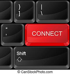 computadora, botón, conectar