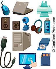 computadora, caricatura, icono