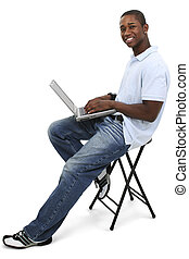 computadora, casual, hombre