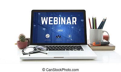 computadora, computador portatil, con, webinar, página principal, en, el, pantalla, internet, sitio web, página web, concept.