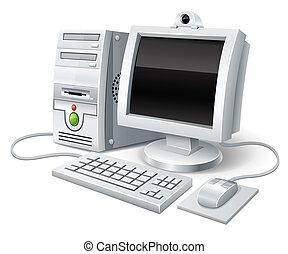computadora computadora personal, con, monitor, teclado, y,...