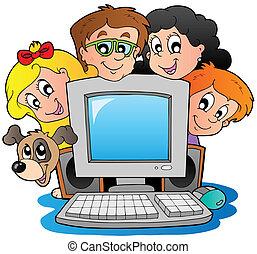 computadora, con, caricatura, niños, y, perro