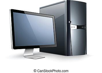 computadora, con, monitor