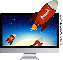 computadora, con, rojo, cohetes