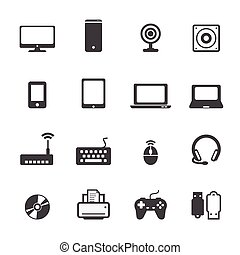 computadora, conjunto, icono