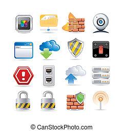 computadora, conjunto, red, icono