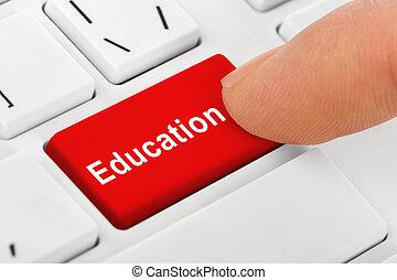 computadora, cuaderno, teclado, con, educación, llave
