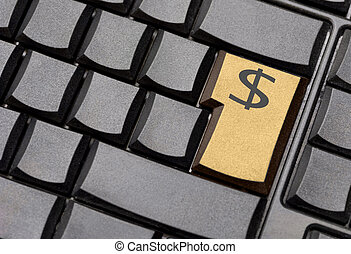 computadora, dólar, llave, señal
