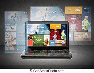 computadora de computadora portátil, con, noticias, páginas web, en, pantalla