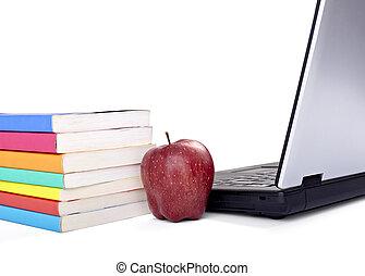 computadora de computadora portátil, libros, manzana, fruta, alimento, educación, escuela