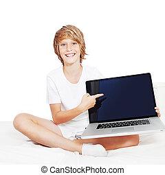 computadora de computadora portátil, pantalla, señalar, niño