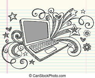 computadora de computadora portátil, sketchy, doodles