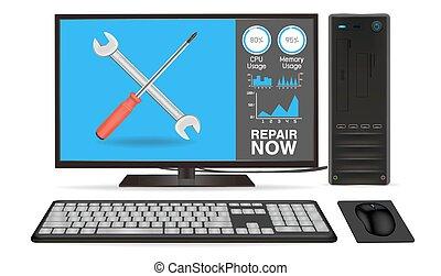 computadora de escritorio, con, reparación, app