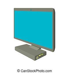 computadora de escritorio, icono, caricatura, estilo