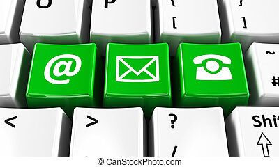 computadora de teclado, verde, contacto