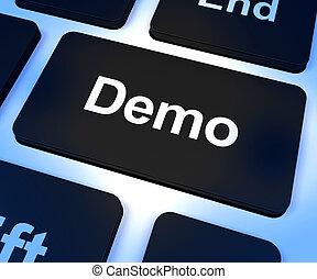 computadora, demo, versión, llave, descargue, software