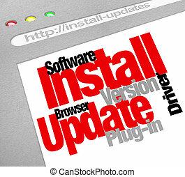 computadora, descargas, programa, updates, instalar, en ...