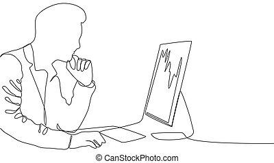 computadora, -, dibujo, trabajando, computador portatil,...