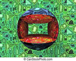 computadora, diseño, en, rojo, verde y azul