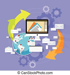 computadora, dispositivo, correo, enviar, computador portatil, nube, plano, diseño