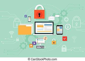 computadora, dispositivo, datos, nube, almacenamiento, seguridad