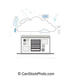 computadora, dispositivo, datos, nube, almacenamiento, seguridad, línea fina